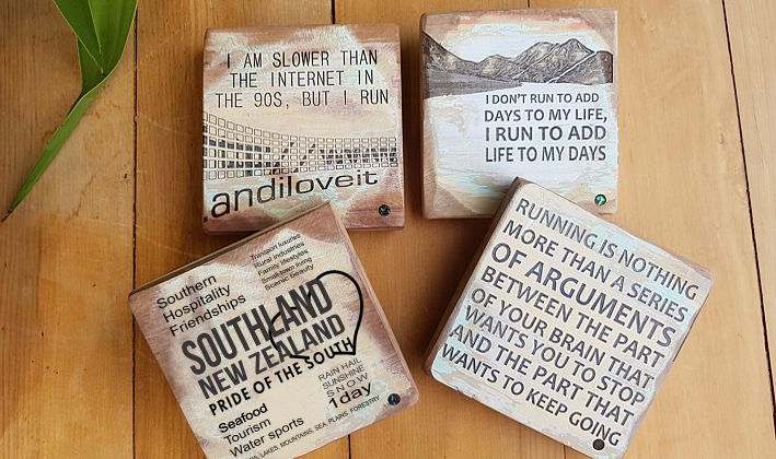 Created from Recycled Rimu, gift for Runners and Southlanders. Great Mother's Day present