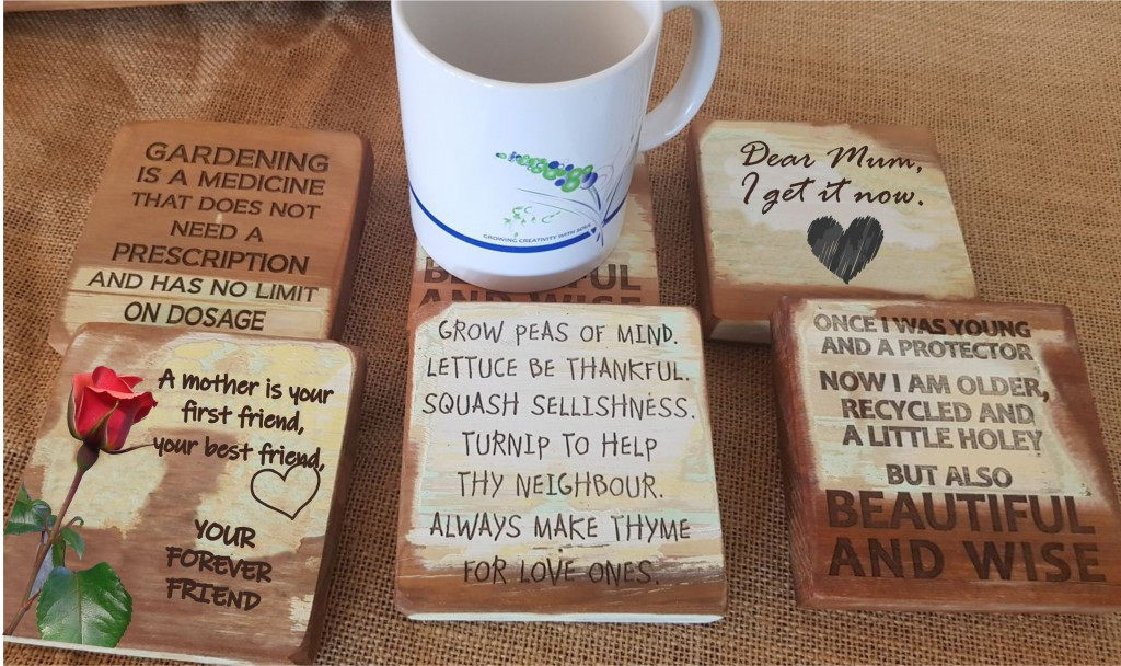 Coasters with gardening, running and Mother's Day themes