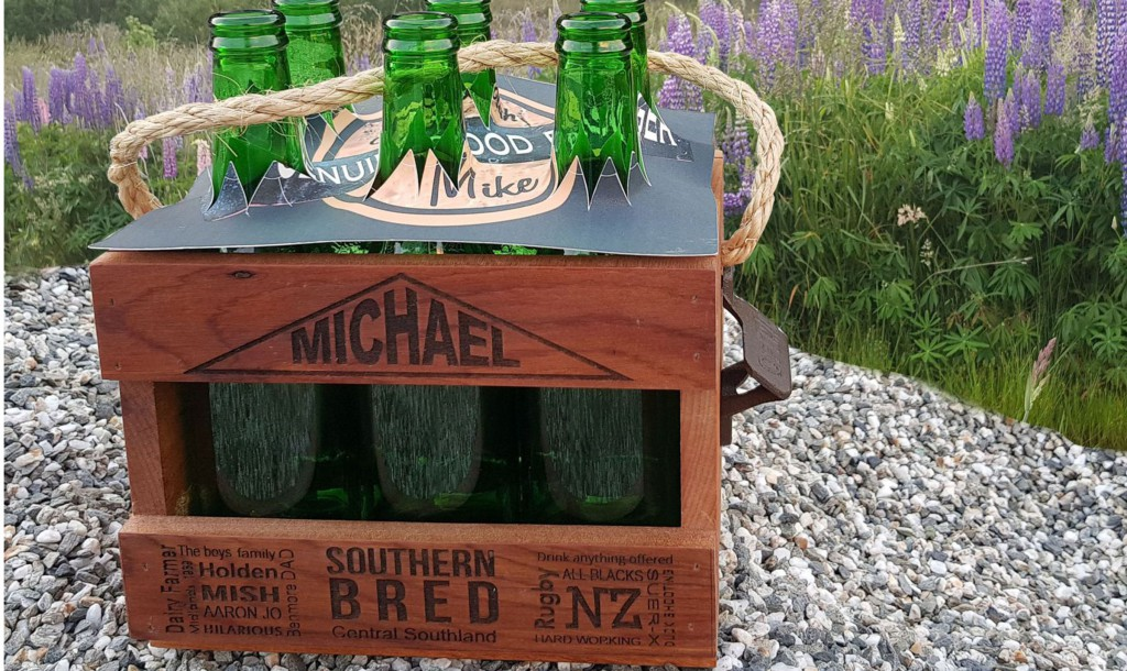 Recycled Rimu Beer Crates customised for individuals. Holds 6 stubbies or other gifts