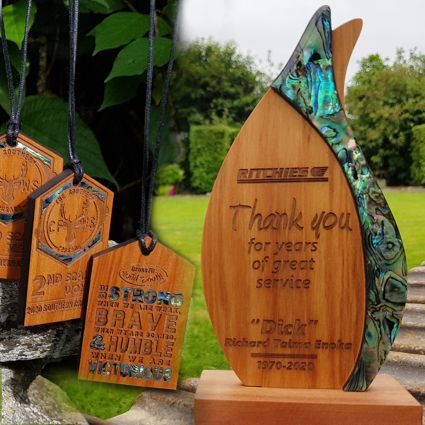 New Zealand made Trophies and Medals created from recycled and natural materials